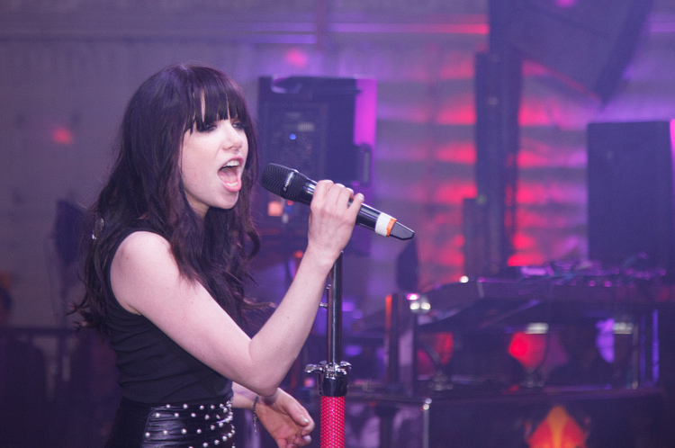 "Carly Rae Jepsen singing ""Call Me Maybe"""